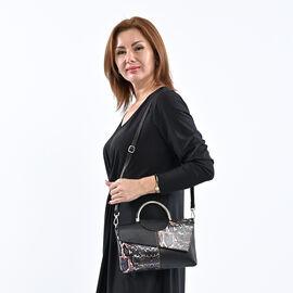 Sencillez Genuine Leather Snake Print Bag (Size 28x3x17cm) - Black & Purple