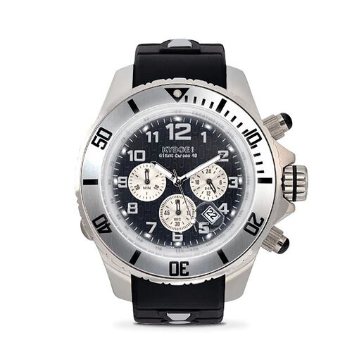 KYBOE Empire Collection Chrono Silver Night - 48MM LED Watch - 100M Water Resistance (Black)