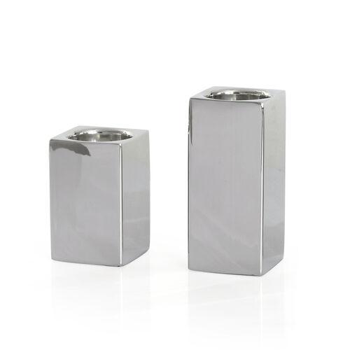 Home Decor - Set of 2 - Square Shape Silver Colour Tea Light Holder