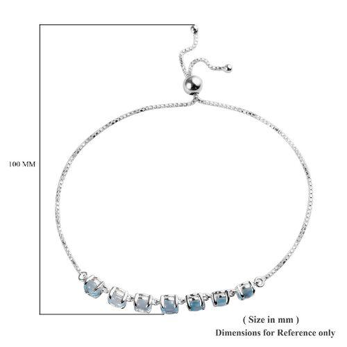 Sky Blue Topaz (Rnd) Adjustable Bolo Bracelet (Size 6.5-9.0) in Sterling Silver 5.00 Ct.