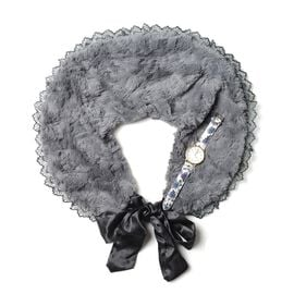 2 Piece Set - STRADA Japanese Movement Water Resistant Watch and Dark Grey Colour Faux Fur Scarf (Size 60x20 Cm)