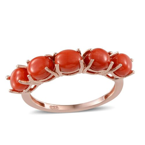 Natural Mediterranean Coral Ring in Sterling Silver