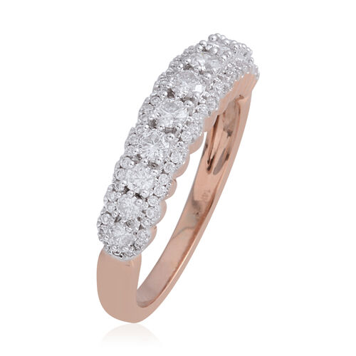 New York Close Out Deal - 14K Rose Gold Diamond (Rnd) (I1-I2/G-H) Ring 0.650 Ct.Size N