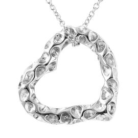 RACHEL GALLEY Rhodium Overlay Sterling Silver Heart Pendant with Chain, Silver wt. 8.54 Gms