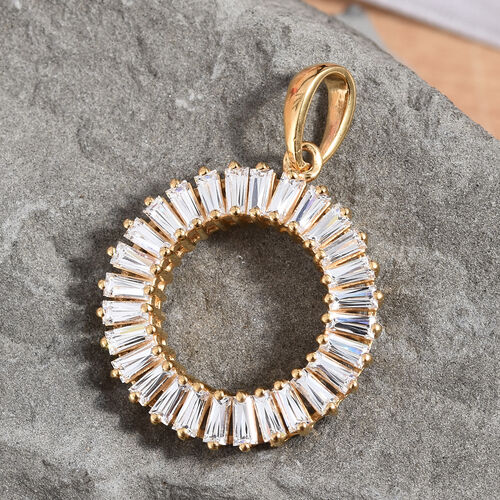 J Francis - 14K Gold Overlay Sterling Silver (Bgt) Circle of Life Pendant Made with SWAROVSKI ZIRCONIA