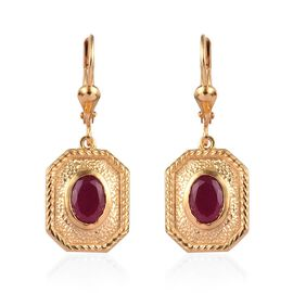 African Ruby Lever Back Earrings in 14K Gold Overlay Sterling Silver 2.00 Ct.