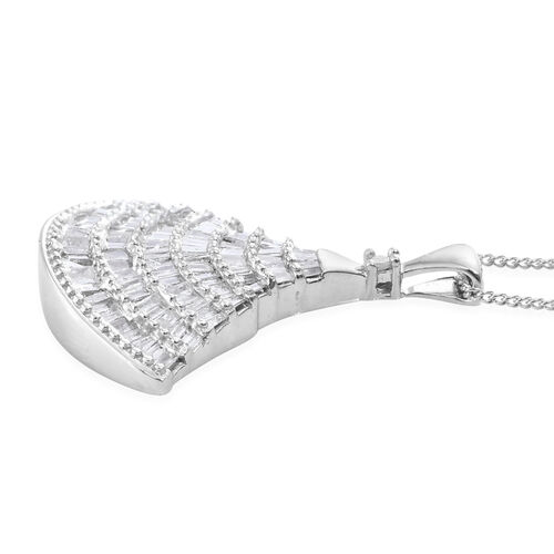 Designer Inspired - Diamond Ballerina Pendant with Chain in Platinum Overlay Sterling Silver 1.150 Ct.