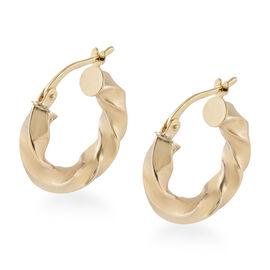 JCK Vegas Gold Showstopper- 9K Yellow Gold Twisted Hoop Earrings Gold Wt. 1.78 Grams