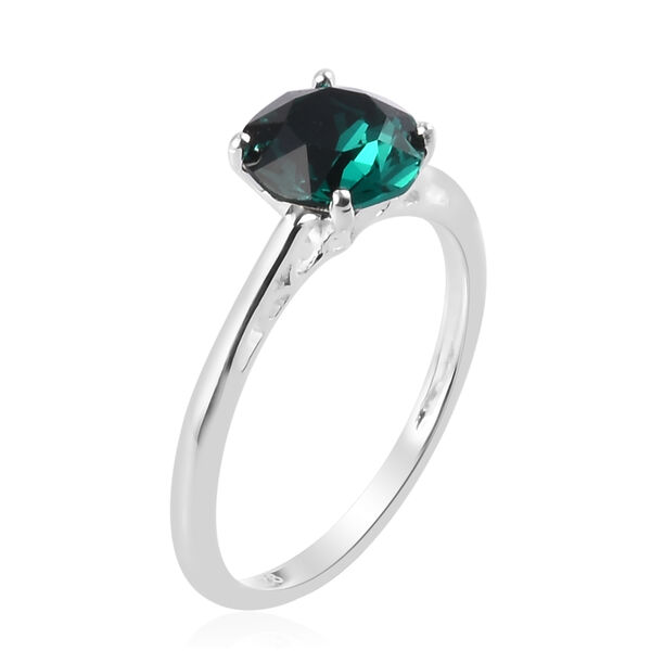 3 Piece Set - J Francis Crystal from Swarovski Emerald Colour Crystal Solitaire Ring, Stud Earrings (with Push Back) and Pendant in Sterling Silver