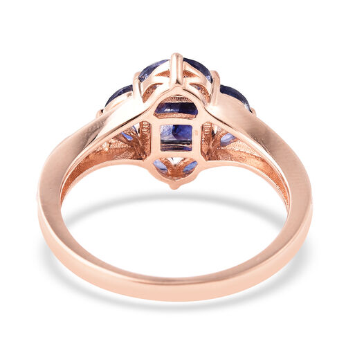 Isabella Liu Floral Collection - AA Masoala Sapphire and Natural Cambodian Zircon Ring in Rose Gold Overlay Sterling Silver