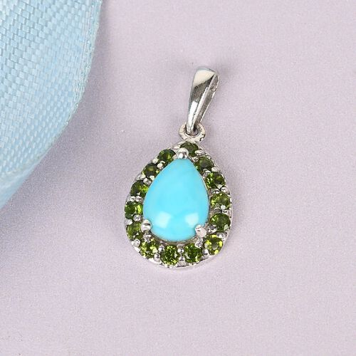 Arizona Sleeping Beauty Turquoise and Russian Diopside Halo Pendant in Platinum Overlay Sterling Silver 1.55 Ct.
