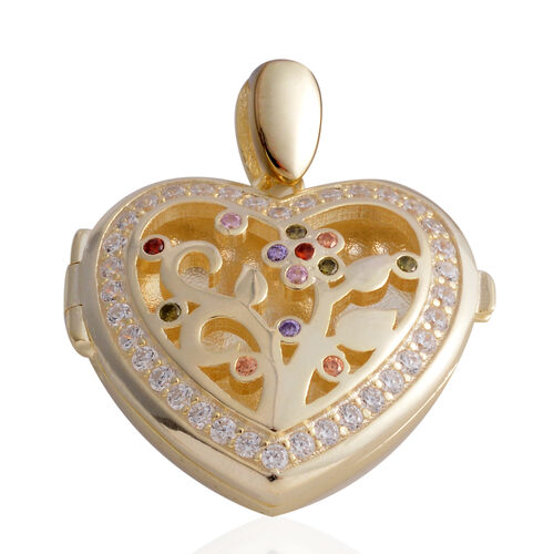 Limited Edition- ELANZA Simulated Diamond (Rnd) Heart Pendant in Yellow Gold  Overlay Sterling Silver, Silver wt 6.90 Gms.