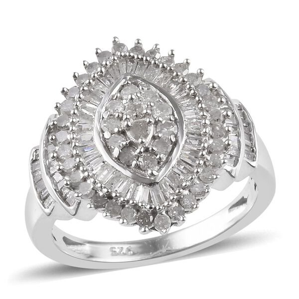 1 Carat Diamond Cluster Ring in Platinum Plated Sterling Silver