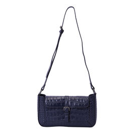 100% Genuine Leather Crocodile-Embossed Pattern Hobo Bag (28x5x16cm) with Adjustable Shoulder Strap