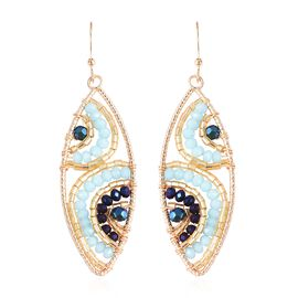 Aqua Blue Glass Bead Marquise Drop Earrings