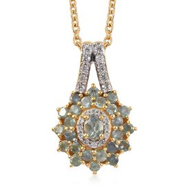 1.46 Ct Narsipatnam Alexandrite and and Zircon Floral Pendant with Chain in Gold Plated Silver