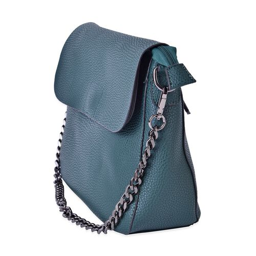 Green Colour Shoulder Bag with External Zipper Pocket and Removable Chain Strap (Size 28x23x11 Cm)