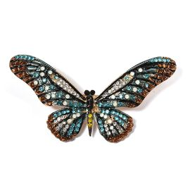 Multi Colour Austrian Crystal (Rnd), Butterfly Brooch Cum Pendant in Gold Tone