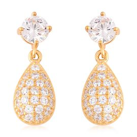 ELANZA Simulated Diamond Drop Earrings in Yellow Gold Plated Sterling Silver
