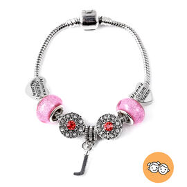 J Initial Charm Bracelet for Children in Simulated Pink Colour Bead, Red and White Austrian Crystal