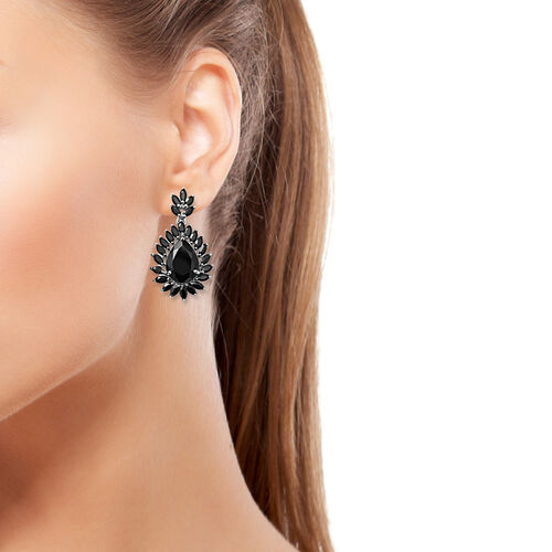 Cocktail Collection- Boi Ploi Black Spinel (Pear 16x12 mm) Earrings (with Push Back) in Rhodium Overlay Sterling Silver 30.150 Ct, Silver wt 9.60 Gms.