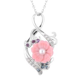 Multi Gem Stone Sterling Silver Pendant With Chain  2.220  Ct.