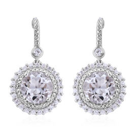 Petalite (Rnd), Natural Cambodian Zircon Earrings (with Push Back) in Sterling Silver 6.0 Ct.