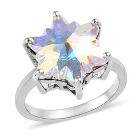 J Francis Crystal from Swarovski AB Crystal Star Ring in Platinum Plated Silver