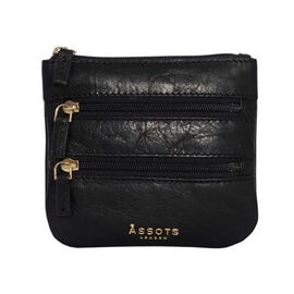 Assots London LAURA Soft Small Zip Top Leather Coin Purse (Size 11x10cm) - Black