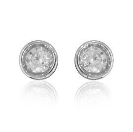 0.50 Ct Diamond Stud Solitaire Earrings in 14K White Gold IGI Certified I2 I3 GH