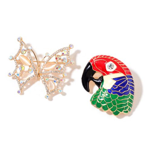 Set of 2 - AAA Magic Colour Austrian Crystal, White Austrian Crystal and Simulated White Cats Eye Enameled Butterfly and Parrot Head Brooch in Yellow Gold Tone