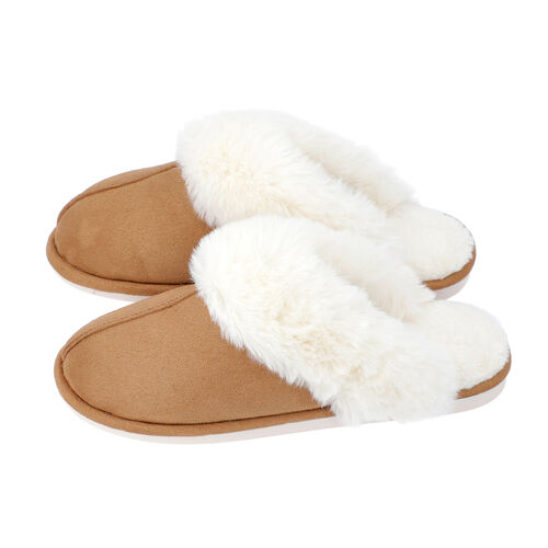 Super Soft Suedette Home Slippers with Faux Fur (Size M: 5-6) - Coffee