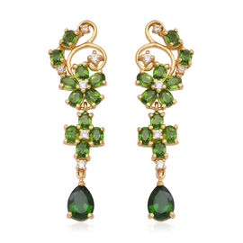 Russian Diopside (Pear and Ovl), Natural White Cambodian Zircon Earrings (with Push Back) in Yellow