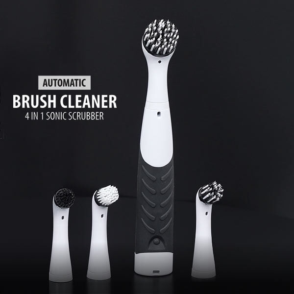 4 in 1 Sonic Scrubber Automatic Brush Cleaner (Battery AAx4 not incl.)  (Size:26x3.5Cm) - Black and
