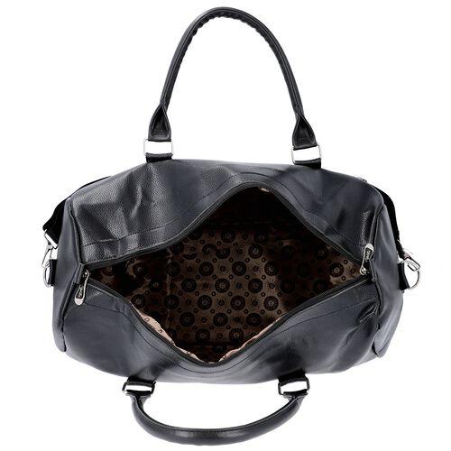 Black Colour Travel Duffle Bag with Detachable and Adjustable Shoulder Strap (Size 43x17x28 Cm)