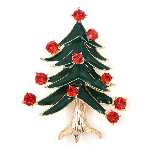 Red Austrian Crystal (Rnd) Christmas Tree Brooch in Gold Tone