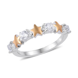 Natural Cambodian Zircon (Rnd) Star Ring in Yellow Gold and Platinum Overlay Sterling Silver 0.750 C