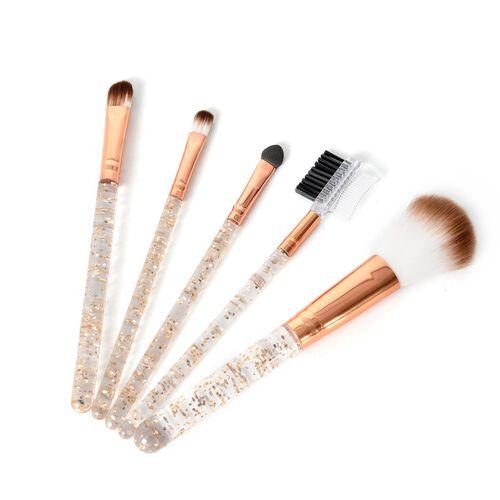 5 Piece Makeup Brush Set - 1 Powder Brush,1 Foundation Brush,1 Smudge Brush;1 Eyelash Brush,1 Sponge Brush in Rose Gold (Size 20x6.5 Cm)