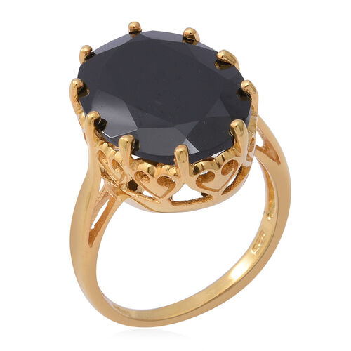 AAA Boi Ploi Black Spinel (Ovl 20x15mm) Solitaire Ring in Yellow Gold Overlay Sterling Silver 17.93 Ct.