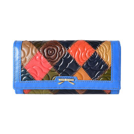 Multi Colour Flower Embossed Genuine Leather RFID Clutch Wallet (Size 19x2x10cm)