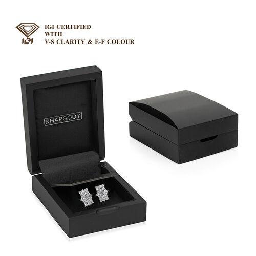 DOORBUSTER DEAL RHAPSODY 950 Platinum IGI Certified Diamond (VS/E-F) Boat Cluster Earrings (with Screw Back) 1.000 Ct.