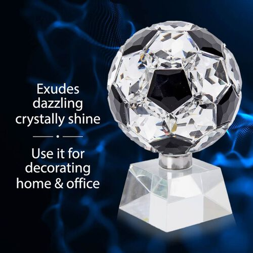 Collectors Edition - Crystal Football with Base (Size 7x14 Cm) - Black Spinel Colour