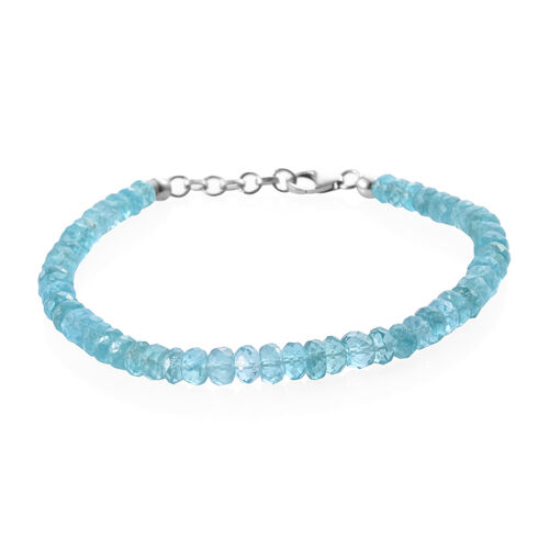 37.68 Ct Paraibe Apatite Beaded Bracelet in Platinum Plated Sterling Silver 7.5 Inch