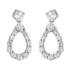 1.29 Ct Diamond Cluster Drop Earrings in 14K White Gold SGL Certified SI GH