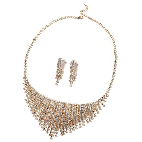 2 Piece Set - White Austrian Crystal (Rnd) Necklace (Size 22) and Earrings in Gold Plated