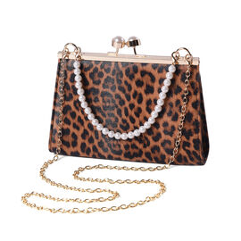 Brown Leopard Clutch Closure Crossbody Bag with Dangling Pearl Chain and Metallic Shoulder Strap in
