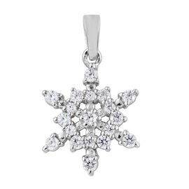 J Francis - Platinum Overlay Sterling Silver (Rnd) Star Pendant Made with SWAROVSKI ZIRCONIA