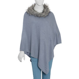 100% Pashmina Wool Grey Colour Poncho (Size 70x70 Cm)