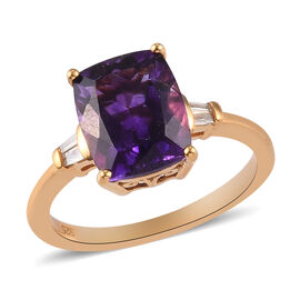 Moroccan Amethyst and Diamond Ring in 14K Gold Overlay Sterling Silver 3.04 Ct.