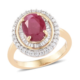 ILIANA 2.75 Ct AAAA Burmese Ruby and Diamond Double Halo Ring in 18K Gold 4.95 Grams SI GH